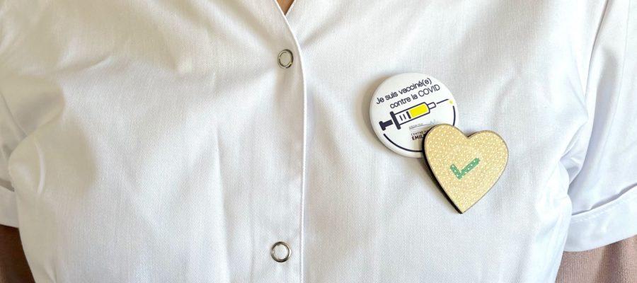 Badge je suis vacciné(e) copntre la covid
